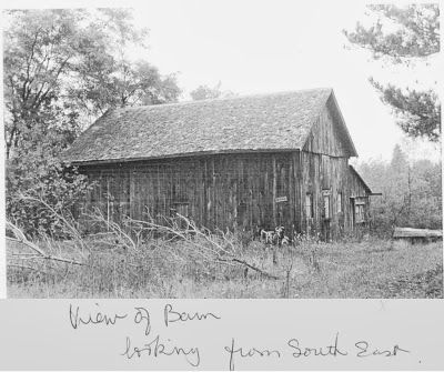 The barn was torn down around the time the AGA was created, and was located at the point where the eastbound causeway, running across the Shaw's Creek floodplain toward the bridge, drops down from the higher land.